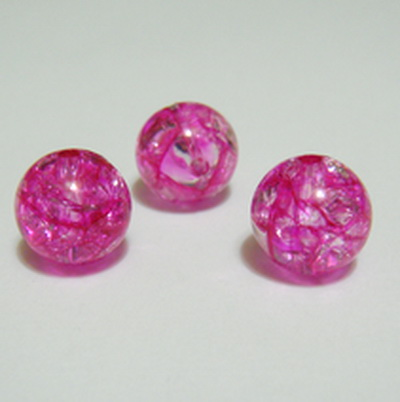 Margele plastic crackle fucsia, 12mm 1 buc