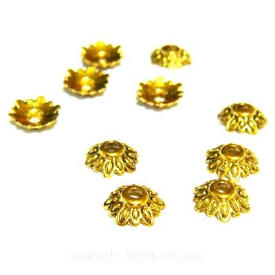 Capacel auriu antic, floare 8x2.5mm 1 buc