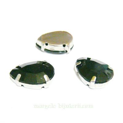 Margele montee rhinestone, plastic, negre, lacrima 18x13x6.5mm 1 buc
