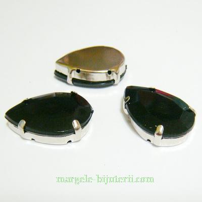Margele montee rhinestone, plastic, negre, lacrima 25x18x6.5mm 1 buc