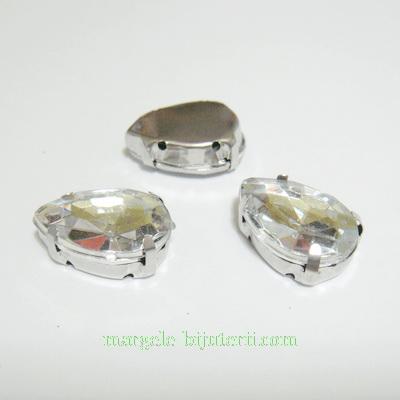 Margele montee rhinestone, plastic, transparente, lacrima 18x13x6.5mm 1 buc
