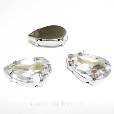 Margele montee rhinestone, plastic, transparente, lacrima 25x18x6.5mm 1 buc