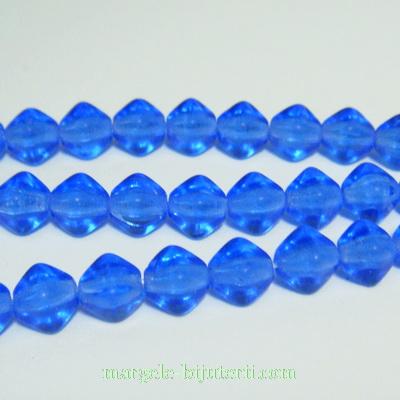 Margele sticla Cehia, presate, biconice, albastru cobalt, 6mm 1 buc
