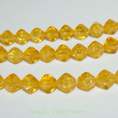 Margele sticla Cehia, presate, biconice, aurii, crackle, 6mm 1 buc