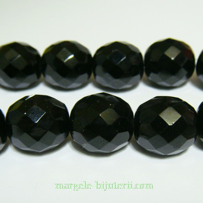 Margele sticla Cehia, fire polish, multifete, negre, 14mm 1 buc