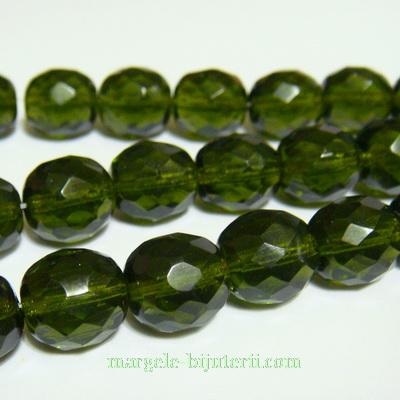 Margele sticla Cehia, fire polish, multifete, kaky, 10mm 1 buc