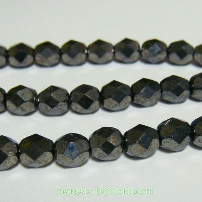 Margele sticla Cehia, fire polish, multifete, negre-hematit, 6mm 1 buc