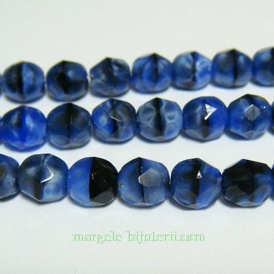 Margele sticla Cehia, fire polish, multifete, albastru-negru, 6mm 1 buc
