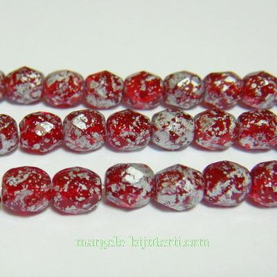 Margele sticla Cehia, fire polish, multifete, rosii placate cu argintiu, 6mm 1 buc
