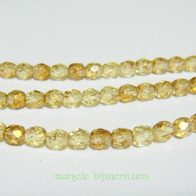Margele sticla Cehia, multifete, transparente, placate cu auriu, 4mm 1 buc