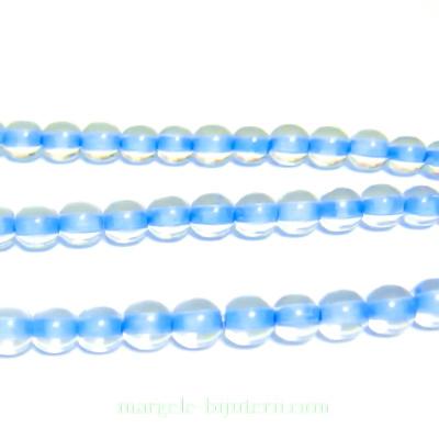 Margele sticla Cehia, presate, cu interior albastru, 4mm 1 buc