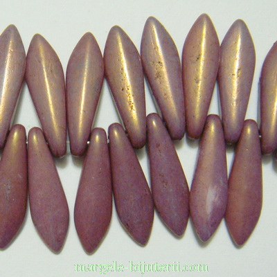 Margele sticla Cehia, presate, mov, electroplacate, frunzulita 16x5x3mm 1 buc