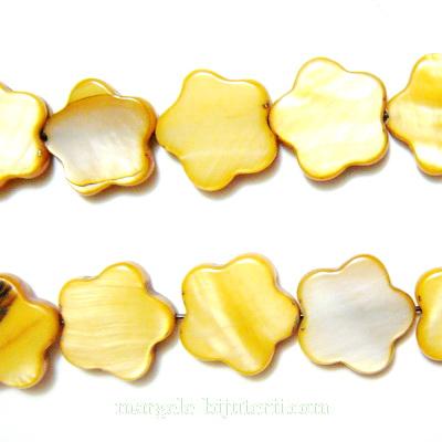 Flori sidef, maro-auriu, 13x3mm 1 buc