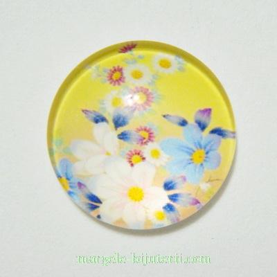 Cabochon sticla, galben cu flori, 18x5mm 1 buc