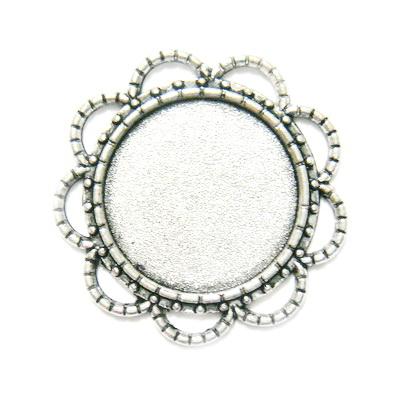 Conector / link cabochon, argint tibetan, 28x3mm, interior: 18mm 1 buc