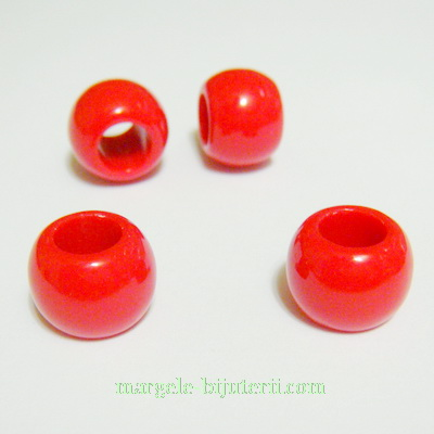Margele plastic, rosii, 14x11mm, orificiu 7mm 1 buc