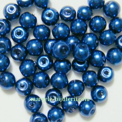 Perle sticla, albastru-cobalt, 4mm 10 buc