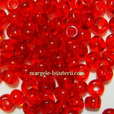 Margele nisip, Rocaille Preciosa 8/0-3mm, rosii, transparente 20 g