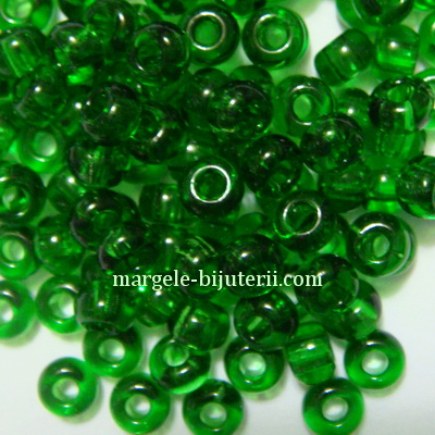 Margele nisip, Rocaille Preciosa 6/0-4mm, verde inchis, transparente 20 g