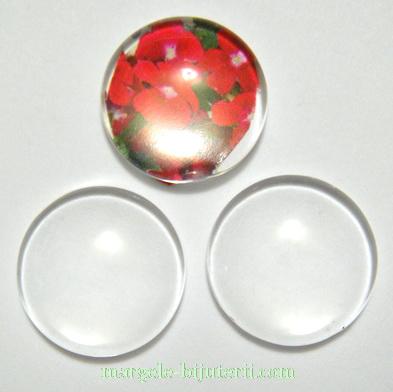 Cabochon sticla transparenta, 18x4.8~5mm 1 buc