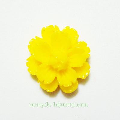 Cabochon rasina, flori galbene, 13x7mm 1 buc