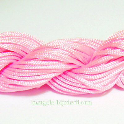 Snur matasos pentru bratari shamballa, roz, grosime 1mm 1 scul 26 m