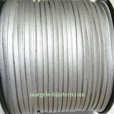 Snur faux suede, argintiu, grosime 3x1.5mm 1 m