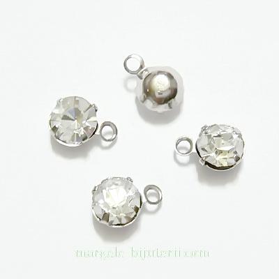 Pandantiv argintiu, 6x4.5mm, cu stras 4mm 1 buc