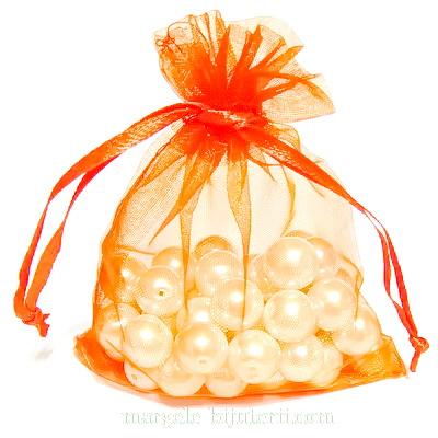 Saculet organza, portocalii, 8x6.5cm 1 buc