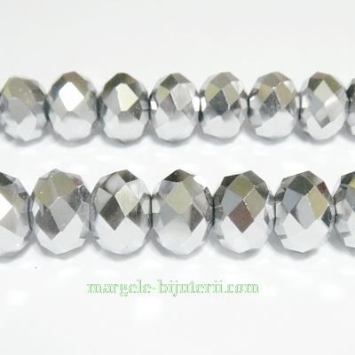 Margele sticla, multifete, argintii, rondel 12x8mm 1 buc