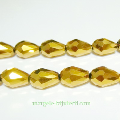 Margele sticla, aurii-metalizate, lacrima 12x8mm 1 buc