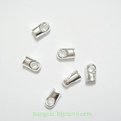 Capat snur, argintiu, cilindric, 7x4mm, interior 3.5mm 10 buc