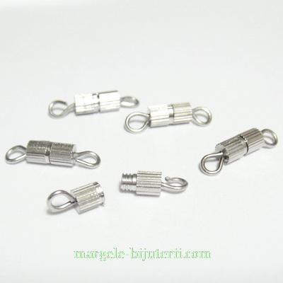Inchizatori argintiu inchis, cu filet 8x3 mm 1 buc