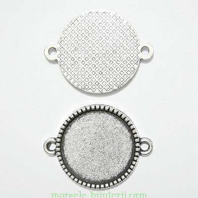 Conector / link cabochon, arginiu antichizat, 27x21mm, interior: 18mm 1 buc