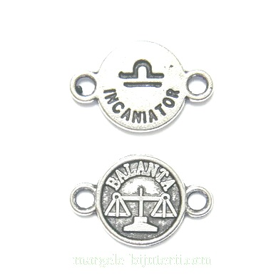 Conector/link arginiu antichizat, zodiac, BALANTA , 15x10mm 1 buc