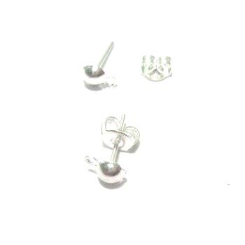 Tortite cercei, argintii, cu nut 1cm - 2 tije + 2 nut 1 pereche