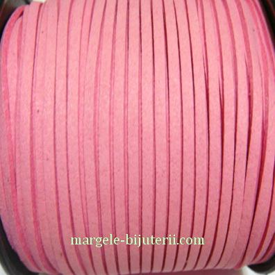 Snur faux suede, roz, grosime 3x1.5mm 1 m