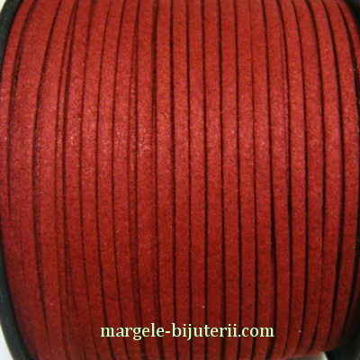 Snur faux suede, bordo, grosime 3x1.5mm 1 m