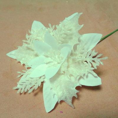 Craciunita roz cu glitter alb si paiete AB, 24~25 cm 1 buc