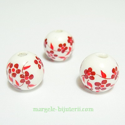 Margele portelan, albe, pictate cu flori rosii, 12mm 1 buc