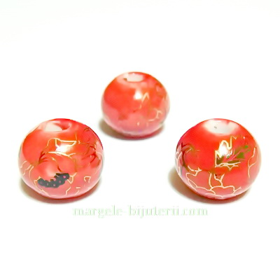 Margele portelan, rosii, pictate cu frunzulite aurii, 12mm 1 buc