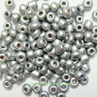 Margele nisip, argintii, perlate, 3mm 20 g