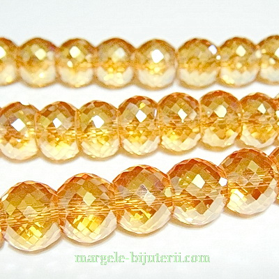 Margele sticla, electroplacate, multifete, auriu-roscat, AB, 10x8mm 1 buc
