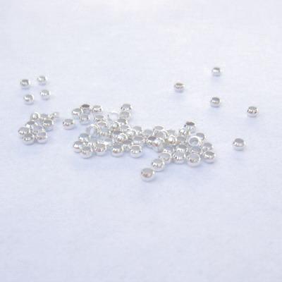 Margele metalice, argintii, 2mm 100 buc
