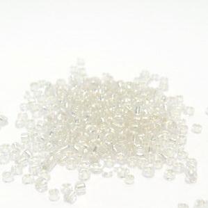 Margele nisip, transparente cu miez argintiu, 3mm 20 g