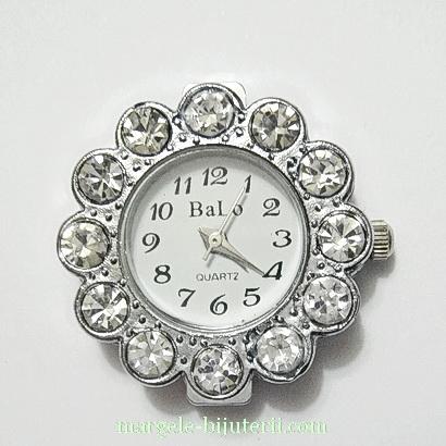 Ceas argintiu, cu strasuri, 26x9mm 1 buc