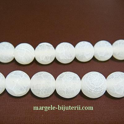 Agata naturala, crakle, colorata alb, 8mm 1 buc