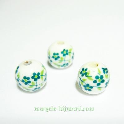 Margele portelan, albe, pictate cu flori verzi, 8mm 1 buc