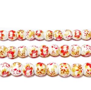 Margele portelan, albe, pictate cu flori rosii si aurii, 6mm 1 buc
