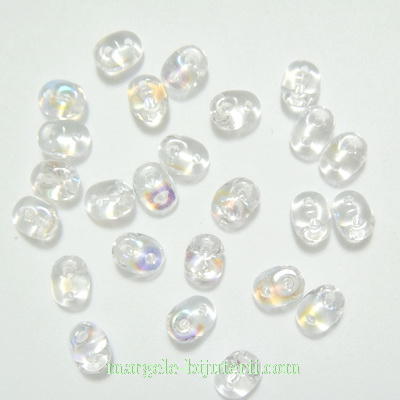 Margele Superduo 2,5x5mm, Crystal AB 5 g